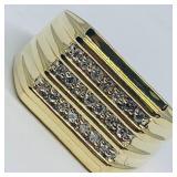 10KT YELLOW GOLD .25CTS MENS  DIAMOND RING