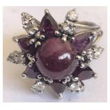 14KT WHITE GOLD RUBY & DIAMOND RING FEATURES