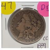 "1889 ""CC"" - MORGAN SILVER DOLLAR (47)"