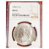"1888 ""O"" ""MS63"" - MORGAN SILVER DOLLAR (20)"
