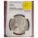 "1921""MS63"" - MORGAN SILVER DOLLAR (21)"