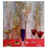 177 - COLORFUL GLASS CANDLE HOLDERS & GLASSES