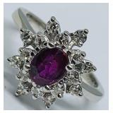 14KT WHITE GOLD .90CTS RUBY &.64CTS DIAMOND RING