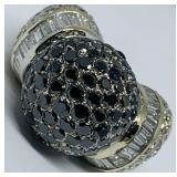 18KT YELLOW GOLD 5.89 BLACK/WHITE  DIAMOND RING