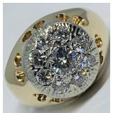 14KT YELLOW GOLD 1.30CTS MENS DIAMOND RING FEATUR