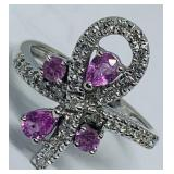 14KT WHITE GOLD .50CTS PINK SAPPHIRE & .29CTS DIA.