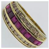 14KT YELLOW GOLD .75CTS RUBY & .80CTS DIAMOND