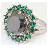 714 - BLACK DIAMOND & EMERALDS SILVER RING