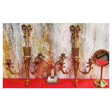 177 - 3 CANDLE HOLDERS & PEDESTAL MIRROR,