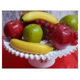 177 - PEDESTAL PLATE & ARTIFICIAL FRUIT