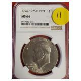 (11) - 1776-1976 D TYPE MS 64 $1 DOLLAR COIN