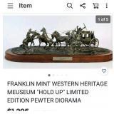 """SW - FRANKLIN MINT PEWTER """"HOLDUP"""" SCULPTURE"""