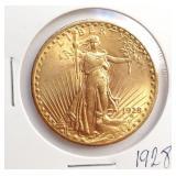 (G8) - 1928 $20 GOLD COIN