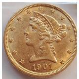 (G3) - 1901 $5 GOLD COIN