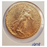 (G2) - 1908 $20 GOLD COIN