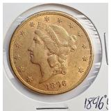 """(G9) - 1896 """"S"""" US $20 GOLD COIN"""