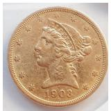"(G4) - 1903 ""S"" $5 GOLD COIN"