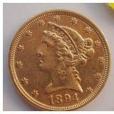 (G5) - 1894 $5 GOLD COIN
