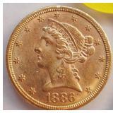 "(G7) - 1886 ""S"" GOLD COIN"