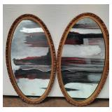 """177 - PAIR OF FRAMED OVAL WALL MIRRORS 39""""H"""