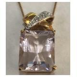 14KT YELLOW GOLD DIAMOND & GEMSTONE PEND. 3.90 GRS