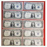 LOT OF 10 SILVER $1 DOLAR CETIFICATES (62)