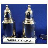 63 - EMPIRE STERLING SILVER SALT & PEPPER SHAKERS