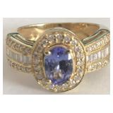 14KT YELLOW GOLD TANZANITE & DIAMOND RING 4.70 GRS