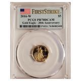 (6G) - 2016 PCGS PR70DCAM GOLD EAGLE $5 COIN