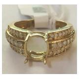10KT YELLOW GOLD .38CTS DIAMONDS SEMI MOUNT RING