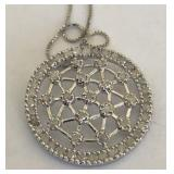 STERLING SILVER APPX 3.00CTS DIAMOND PENDANT WITH