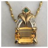 14KT YELLOW GOLD CITRINE & DIAMOND PENDANT WITH