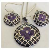 STERLING SILVER AMETHYST PENDANT AND EARRINGS