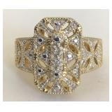 GOLD PLATED STERLING SILVER RING WITH DIAMOND