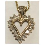 10KT YELLOW GOLD DIAMOND HEART PENDANT WITH 16INCH