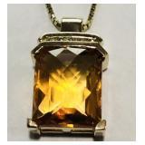 10KT YELLOW GOLD CITRINE & DIAMOND PENDANT WITH