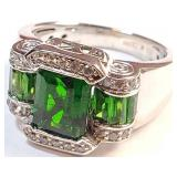 STERLING SILVER CHROME DIOPSIDE & WHITE TOPAZ RING