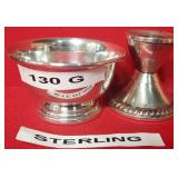 63 - STERLING SILVER 130G SM BOWL & CANDLE HOLDER