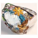 D - BEAUTIFUL RING W/FLOWERS & BIRD