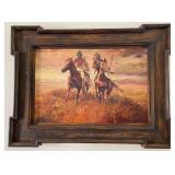 58 - SIGNED OIL PAINTING OF 2 INDIANS ON HORSEBACK