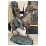 58 - BRONZE INDIAN ON HORSEBACK STATUE