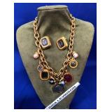 63 - LINDA LEVINSON NECKLACE & EARRINGS