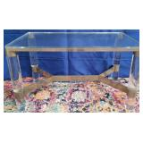 11 - SIGNED LUCITE TABLE 31.5 X 18