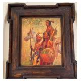 58 - SIGNED OIL PAINTING OF INDIANS W/COA
