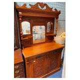"""231 - INTRICATELY CARVED SIDEBOARD W/ HUTCH 76X48"""""""