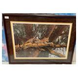 175 - FRAMED JAGUAR ON TREE PRINT BY SIMON COMBS