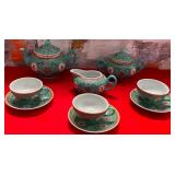 11 - CHINESE PORCELAIN TEA SET W/ 3 TEACUPS & SAUC