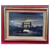 """63 - FRAMED LONDON BRIDGE ART 14X18"""""""