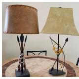 """58 - PAIR OF ARROW TABLE LAMPS W/ SHADES 28""""H"""