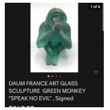 63 - DAUM SPEAK NO EVIL GREEN MONKEY W/BOX